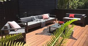 furniture deck. NZ Deck Furniture - Aluminium Patio Couch \u0026 Slat Table With Red Cushions And Ferns C