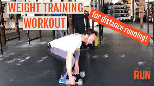 distance running weight workout with dumbbells