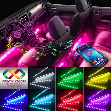Automotive Led Light Controller Car Interior Lights Caferria Car Led Strip Light 4pcs 48 Led App Controller Waterproof Multi Diy Color Music Under Dash Car Lighting Kits With Sound