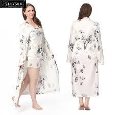 plus size silk robe lilysilk long silk bathrobe sets 100 silk camisole robe women plus