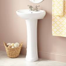 gretchen porcelain pedestal sinksimplicity at its best the gretchen pedestal sink features a clean design and is perfect for small bathrooms