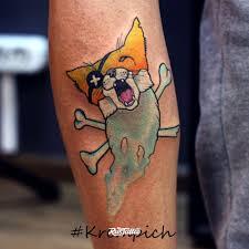 фото татуировки лис пират в стиле акварель нью скул татуировки на