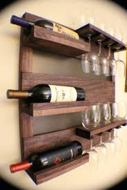 wall mounted wine rack with glass holder