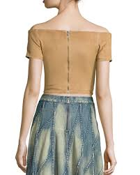 gracelyn suede off the shoulder cropped top tan