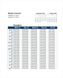 Excel Weekly Calendar Template Social Media Calendar