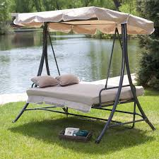 Coral Coast Lazy Caye 3 Person All-Weather Swing Bed with Toss Pillows -  Cappuccino | Hayneedle