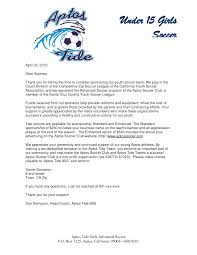 Letter Of Sponsorship Sample Parent Thank You Letter From Youth Athletes Sponsorship Letter 4