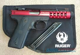 ruger 22 45 lite with red anodized slide 22lr fiber optic sights s