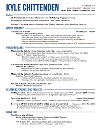 Resume For Animation Industry 7 Animator Resume Templates