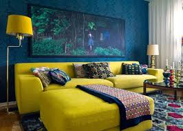 L shapped yellow sofa
