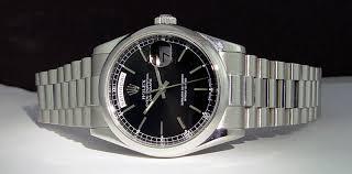 swiss watches rolex mens platinum president day date black index rolex mens platinum day date president black index dial 118206