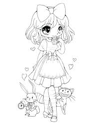 Chibi Anime Coloring Pages Casual Girl Coloring Pages Free Printable