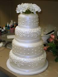 Four Tier Round Custom White Fondant Wedding Cake Design With Fall