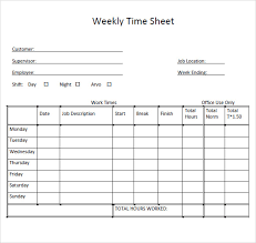 Excel Weekly Timesheet Template Sample Weekly Timesheet Template 9 Free Documents Download In Pdf