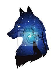 Obraz Dvojitá Expozice Silueta Vlka V Nočním Lese Modré Nebe S Měsíc