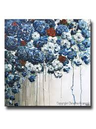 original art abstract blue flowers painting textured red white blue navy modern coastal wall decor on navy blue and teal wall art with original art abstract blue flowers painting textured red white blue