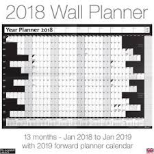Details About 2018 Yearly Planner Annual Wall Chart Year Calendar Free 2yr Desktop Calendar