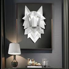 [Artware] 3D <b>Abstract Wolf</b> Head Art Statue Handmade Resin Wall ...