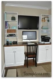 Office in kitchen Compact Diy Office Built Ins Using Stock Kitchen Cabinets And Custom Storage Towers Transcarrentalco Champagne Den On Beer Budget Teeny Ideas
