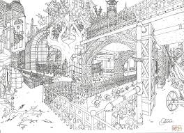 Steampunk Stad Door Clanaad Kleurplaat Gratis Kleurplaten Printen