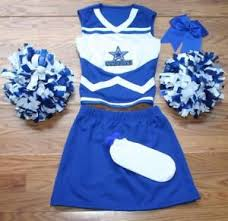 Image is loading COWBOYS-CHEERLEADER-COSTUME-OUTFIT-SET-POM-POMS-BOW- COWBOYS CHEERLEADER COSTUME OUTFIT SET POM POMS BOW UNIFORM ADULT
