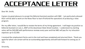 Accept Offer Letter Reply Employment Acceptance Letter Job Offer With Mesmerizing Sample Of A