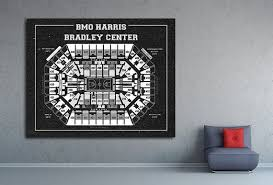 Vintage Print Of Bmo Harris Center Seating Chart On Premium Photo Luster Paper Heavy Matte Paper Or Stretched Canvas Free Shipping