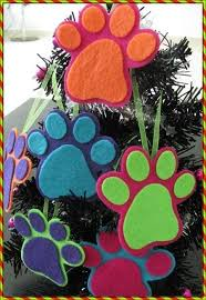 Items similar to Animal lovers colorful paw Christmas tree ornament on Etsy