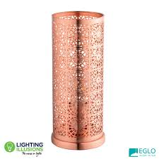 Brushed Copper Eglo Bocal Steel E27 Table Lamp