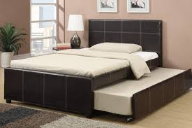 Espresso Faux Leather Full Size Bed with Twin Trundle