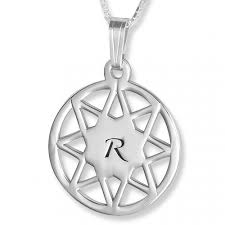 initial pendant 8 point star engraved sterling silver silver initial necklaces initial necklaces by material initials namefactory