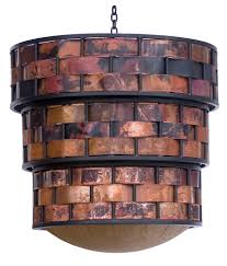 a chandelier handcrafted with copper and iron