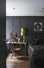 bedroom panelling in room painted dark grey