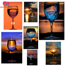 Diy Glass Cup Designs Us 6 94 34 Off 5d Diy Diamond Painting Diamond Embroidery 2018 Hot Ins Design Of Crystal Glass Cup Sunrise Sunset Pictures Pictures By Numbers In