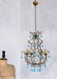 vintage 1930 s shabby blue macaroni beaded crystal chandelier
