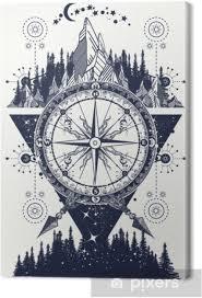 Obraz Hory A Starožitné Kompas Tetování Umění Dobrodružství Cestování Na Plátně