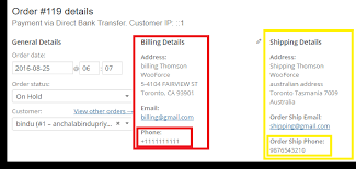 phone number for address code snippet to display shipping phone number in label in place of