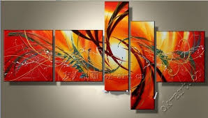 canvas paintings for sale. Handmade Oil Painting On Canvas Abstract Art Sale Sunrise Red Christmas Home Decor Wall Paintings For N