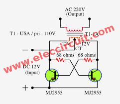simple inverter schematic diagram use mj eleccircuit very simple 50 watt inverter using mj2955