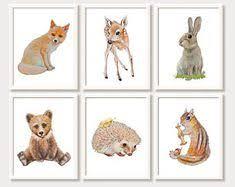 <b>Watercolor fox</b>, Woodland Nursery Art, Animal Paintings, <b>Fox</b>, <b>Bear</b> ...