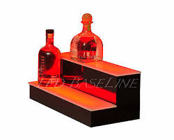 Bar Bottle Display Stand Cool 332 32 Tier Step LED Lighted Back Bar Liquor Bottle Shelf Glowing