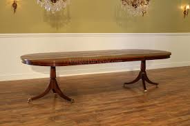traditional oval mahogany dining room table formal high end antique reion pedestal table