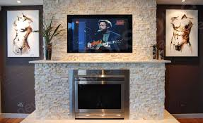 ivory rock panels for natural stacked stone fireplace used in a living room on a fireplace