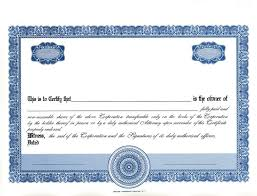Template For Stock Certificate Share Certificate Template Doc Blank Certificates
