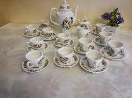 Retro coffee set, impact by british anchor in green / white vintage china. British Anchor Tea Or Coffee Set For 12 People Paradise Catawiki