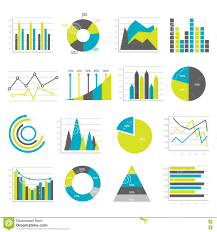 Graphs Flat Icons Set Stock Vector Illustration Of Business