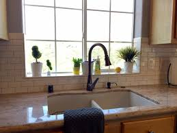 Tile wrapped around a window sill. Kitchen ...