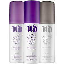 urban decay setting spray is por in the makeup world chill is perfect for dry skin all nighter is perfect for all skin types and de slick is perfect