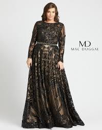 Mac Duggal 67148f Long Sleeve Plus Size Gown