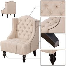 costway modern tall wingback tufted accent armchair fabric vintage chair nailhead beige 2